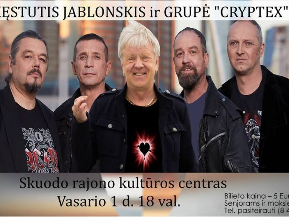 """Kęstučio Jablonskio ir grupės """"Cryptex"""" koncertas Skuode"""